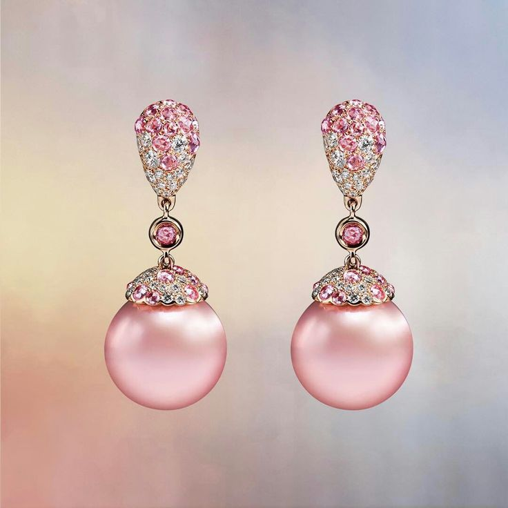 @crivelliofficial. When your most precious fantasy meets reality: pendant earrings made of pink gold and pink pearl with a pave of brilliants and pink sapphires