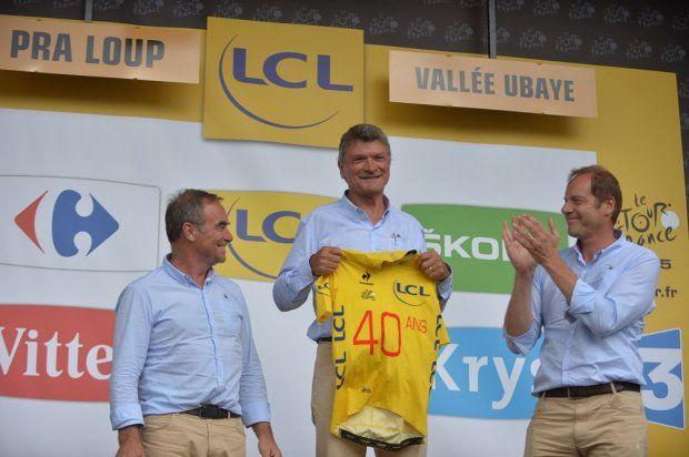 Tour de France 2015 - 22/07/2015 - 17ème Etape - Digne les Bains / Pra Loup - 161km - Bernard THEVENET honoré pour les quarante ans de sa victoire à Pra Loup.