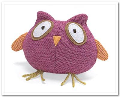 Knit Owl Dog Toy