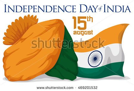 Beauty turban and India flag ready to celebrate Independence Day.