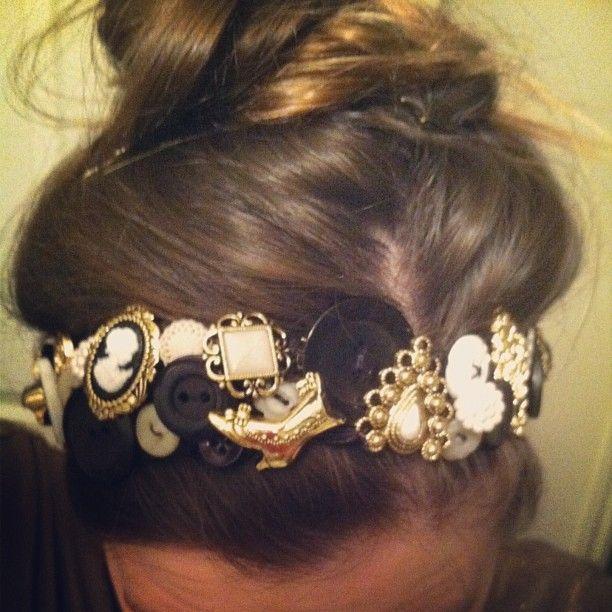 vintage button headband