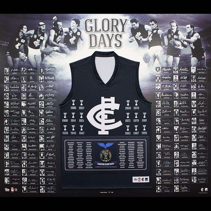 AFL CARLTON BLUES GLORY DAYS PREMIERSHIP FRAMED MEMORABILIA SIGNED COA –100 ONLY #AFL #CarltonFC #CarltonBlues #SportsMemorabilia #VFL #Footy