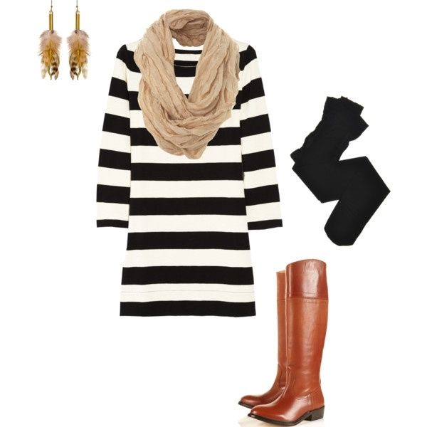 cute outfit for fall: Dresses Boots, Fall Wint, Fall Looks, Fall Outfit, Brown Boots, The Dresses, Stripes Dresses, Earrings, Fall Dresses
