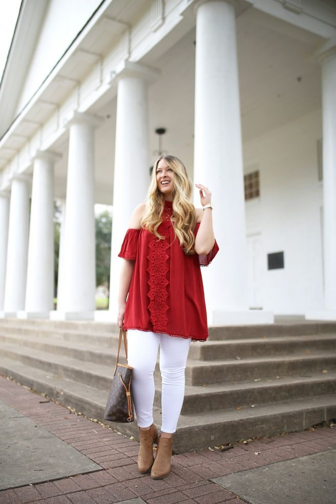 Pretty red embroidered top with white jeans for LESS THAN $20.
