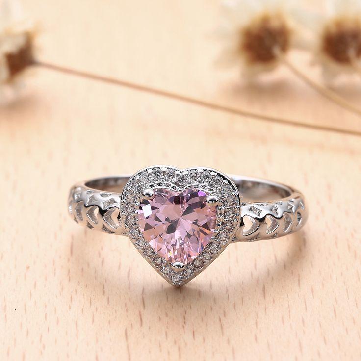BLACK GUN romantic heart finger Rings new love pink green white cz zircon wedding cheap Engagement Ring for women drop shipping