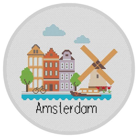 Little Amsterdam PDF Modern cross stitch pattern Netherlands Little cities cross…