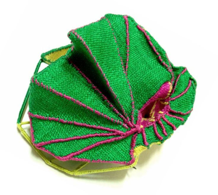 """Mina Kang - brooch 2013 - ramie fabric, thread , stainless steel  (""""Materiality ......"""" exhibition)"""