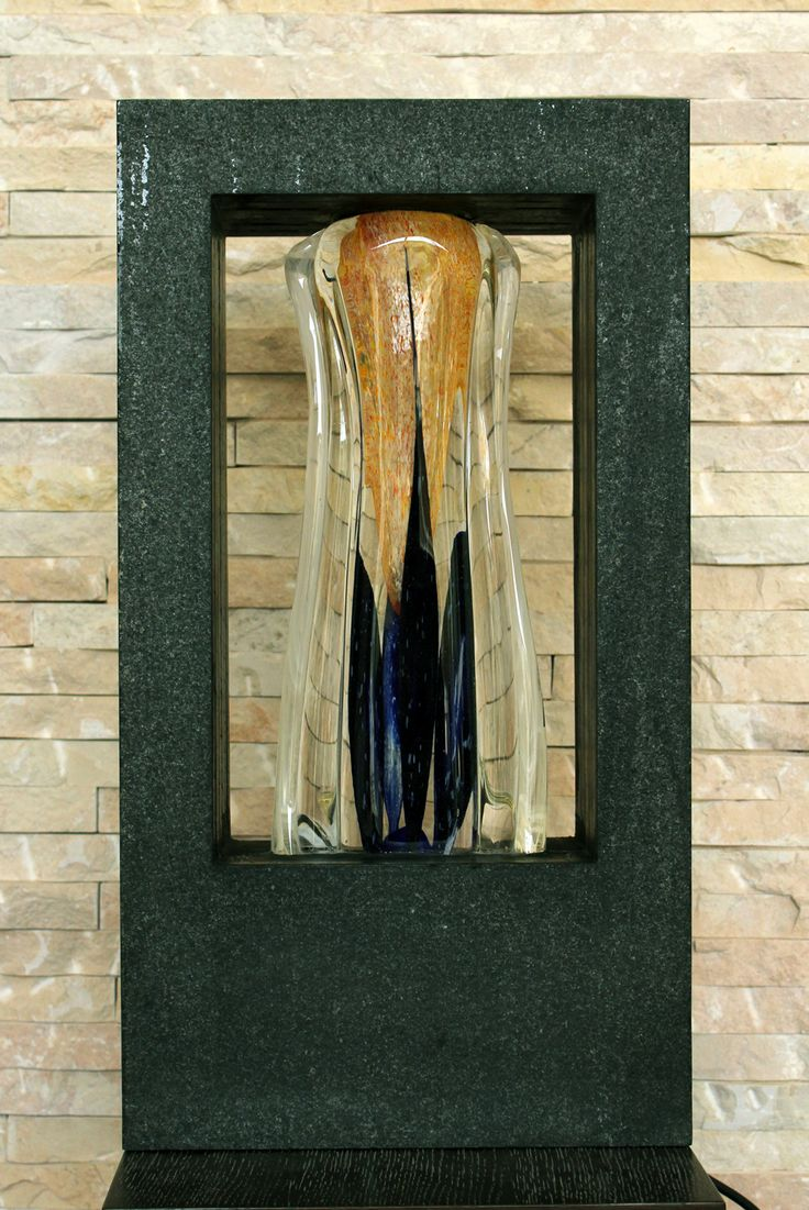 ELEGANTE :  Stone (from RAK) and Glass (blown by Novaro) interior Lamp designed and made by Amedee Santalo. Around 45 kg (sold)