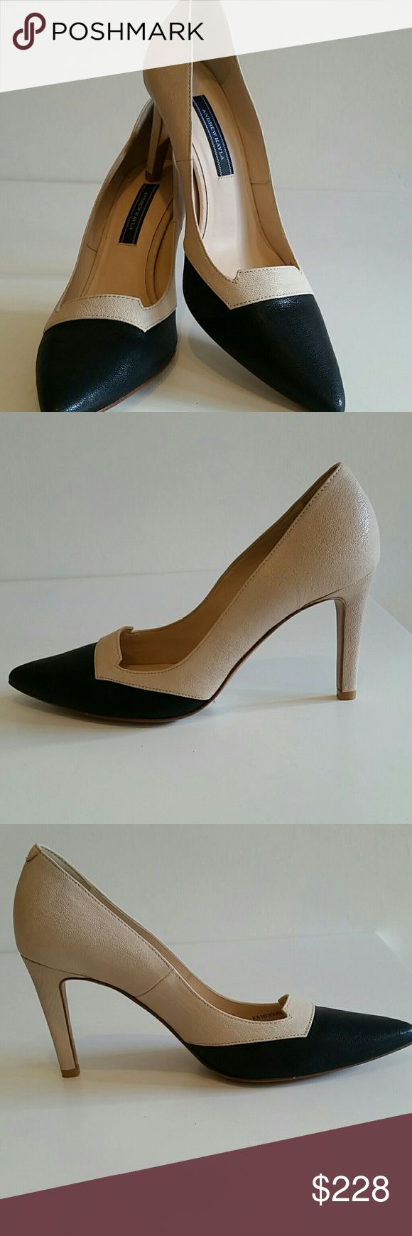 Andrew Kayla shoe Goatskin in black/natural pointed toe pump Andrew Kayla Shoes Heels