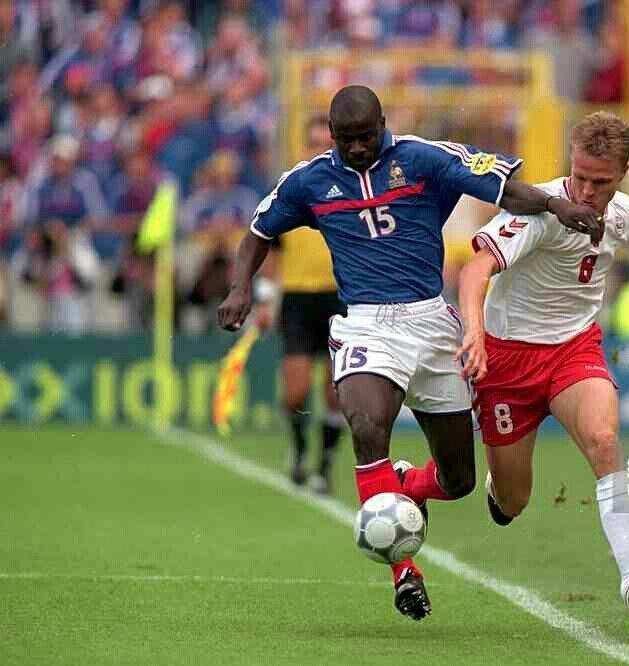France 3 Denmark 0 in 2000 in Bruges. Jesper Gronkjaer tries to go around Lilian Thuram in Group D at Euro 2000.