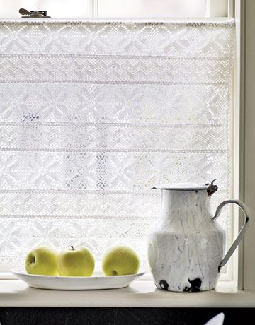 Cotton crochet trim can be stitched together to make a delicate curtain.    Read more: Simple Summer Crafts - Summer Decorative Crafts - Country Living