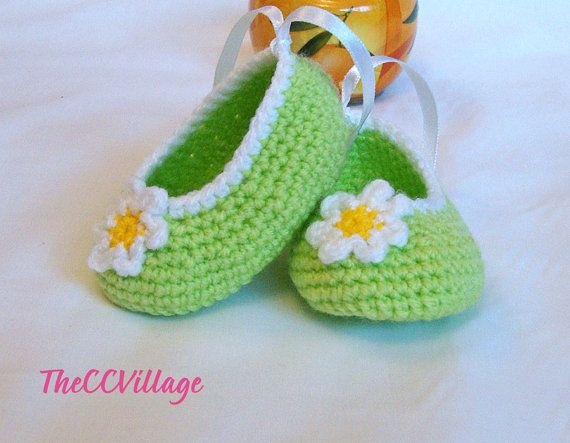 Light Green handmade crochet baby girl shoes with by TheCCVillage, £6.00