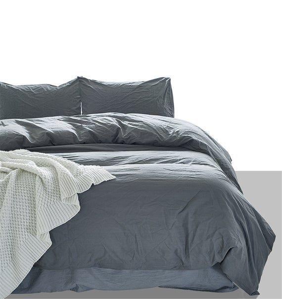 Gray Washed Cotton Duvet Cover Set Solid Color Dark Gray Etsy Bedroom Bedding Sets Duvet Cover Sets Cotton Duvet Cover