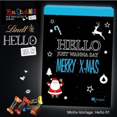 Image of Promotional Lindt Hello Chocolate Advent Calendar. Printed Lindt Christmas Advent Calendar