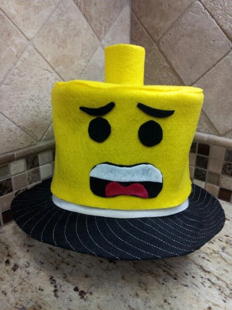 Lego Hat Topper! Made entirely of felt (my new best friend)!! Crazy hat day!