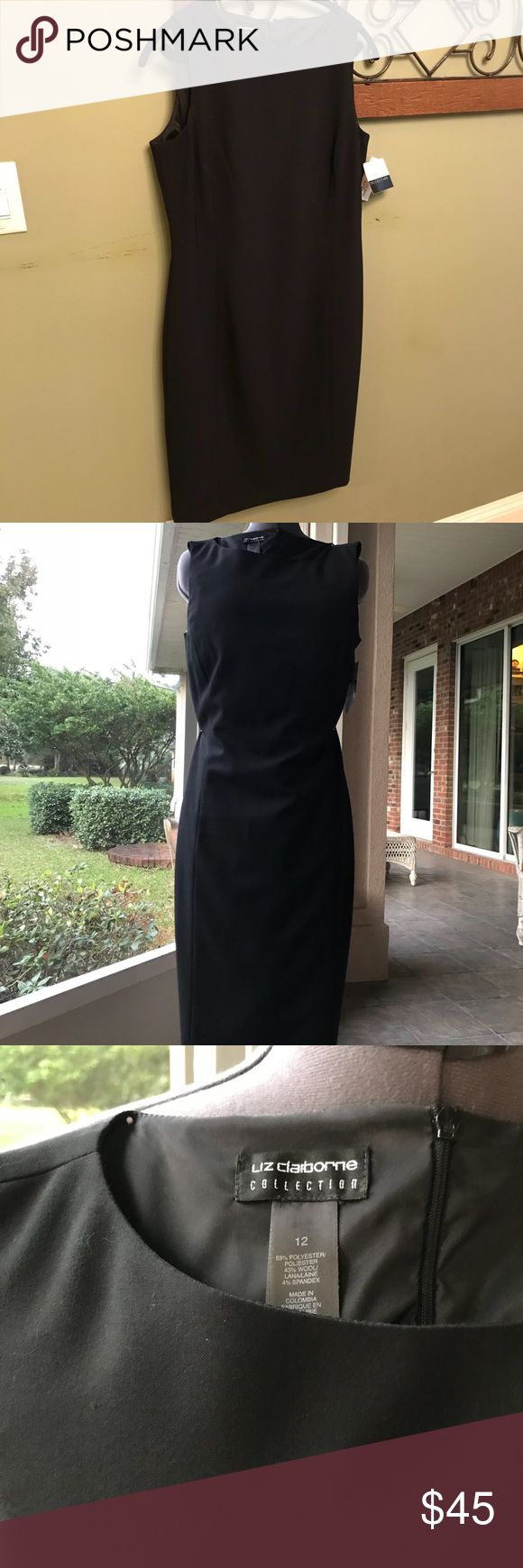 Liz Claiborne little black dress New with tags. Classic pencil style. Fully lined, panel seamed for fitted design.  Size 12, but is designed to be a very tight fit. Liz Claiborne Dresses