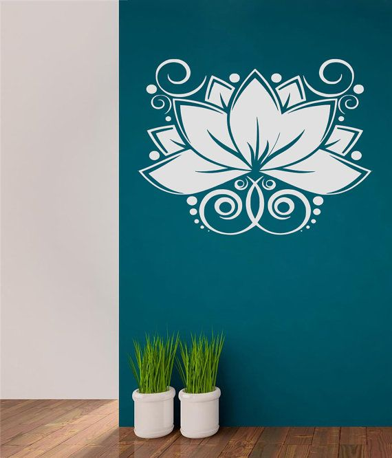 Wall Decal, Lotus Flower, Yoga Wall Decal - Living Room sticker, Bedroom sitcker, Yoga Studio Wall Art Sticker, namaste decal