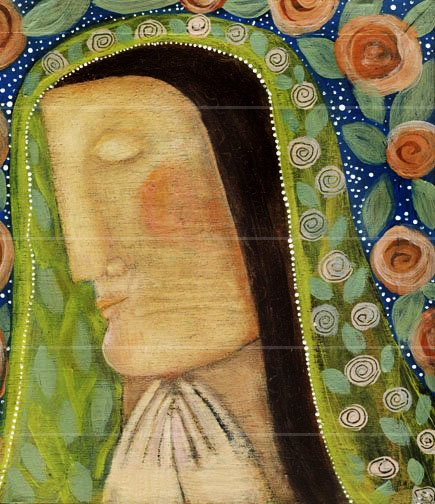 Roses for the Madonna Religious Painting Original Cigar Box folk art by Pennsylvania folk artist Rose Walton.