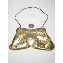 Tasje van gouden lamee stof handgreep is een lange ketting