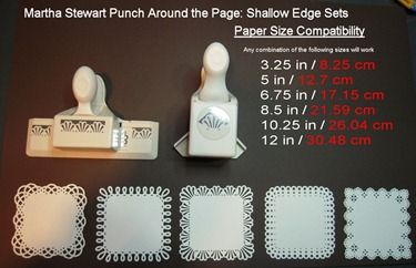 A very useful tutorial on what sizes of paper to use with your punches to make a border go around the paper. For both shallow and deep edge MS punches. Awesome!