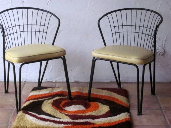 Pair daystrom mid century modern chairs wire metal barrel back dining