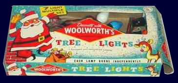 A string of seven bakelite Christmas tree lights for 85 cents from Woolworths in North America in the late 1930s