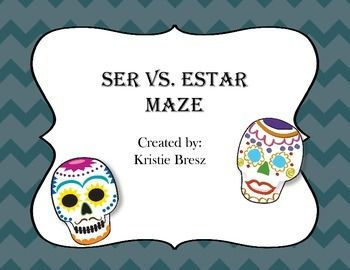 This maze will give students practice in choosing between SER and ESTAR and also in forming the correct conjugation.  As they choose the correct answer, they will be led to the end of the maze.  This activity could be used in class as independent practice, for homework, or would be an excellent file to leave for a substitute.