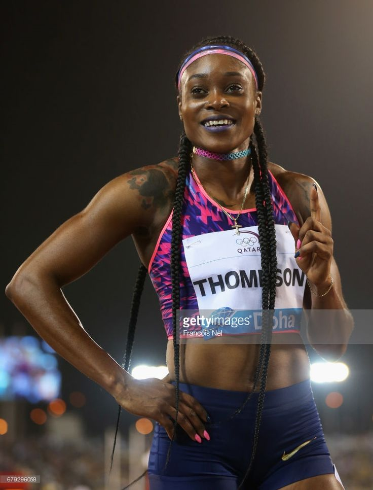 Elaine Thompson of Jamaica celebrates after victory in the Women's 200 metres during the Doha - IAAF Diamond League 2017 at the Qatar Sports Club on May 5, 2017 in Doha, Qatar.