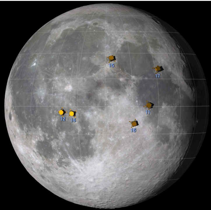 NASA Apollo Missions the approximate locations of the Apollo moon landing sites.  Credit: NASA's Goddard Space Flight Center Scientific Visualization Studio