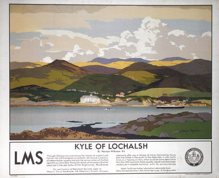 Poster produced for London Midland and Scottish Railway (LMSR) to promote train services to Kyle of Lochalsh in the Highlands. The poster shows a view from Skye acros the Kyle to Lochalsh Hotel with a MacBraynes steamer on the Loch. The text beneath promotes the region, MacBraynes steamers and the LMS Lochalsh Hotel. Artwork by Norman Wilkinson.