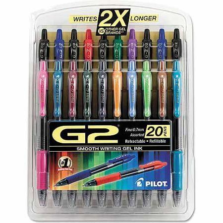 Pilot G2 Retractable Gel Ink Pen Assorted Ink