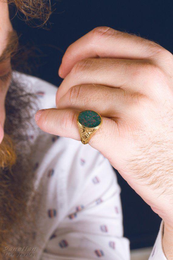 Signet Ring Men Gold, Bloodstone Ring Men, Solid Gold Signet