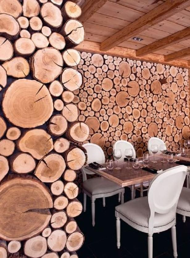 Chalet with log cross sections covering it. Not sure I love it as shop design, but the pattern is mesmerizing!