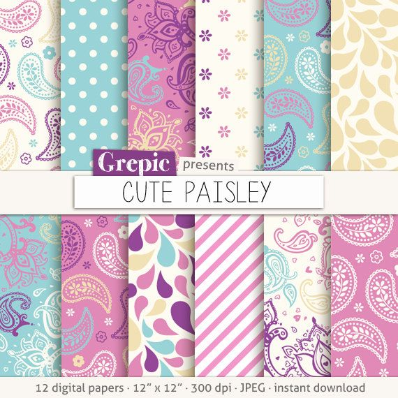 "Paisley digital paper: ""CUTE PAISLEY"" in pink, turquoise, purple, paisley pattern, background, sweet, curly, swirls, drops, floral, girly"