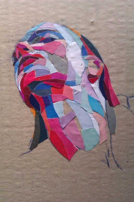 "(have students do this before painting a portrait) Dimosthenis Prodromou; Paper, Assemblage / Collage ""Niki"" (Saatchi Online Artist)"