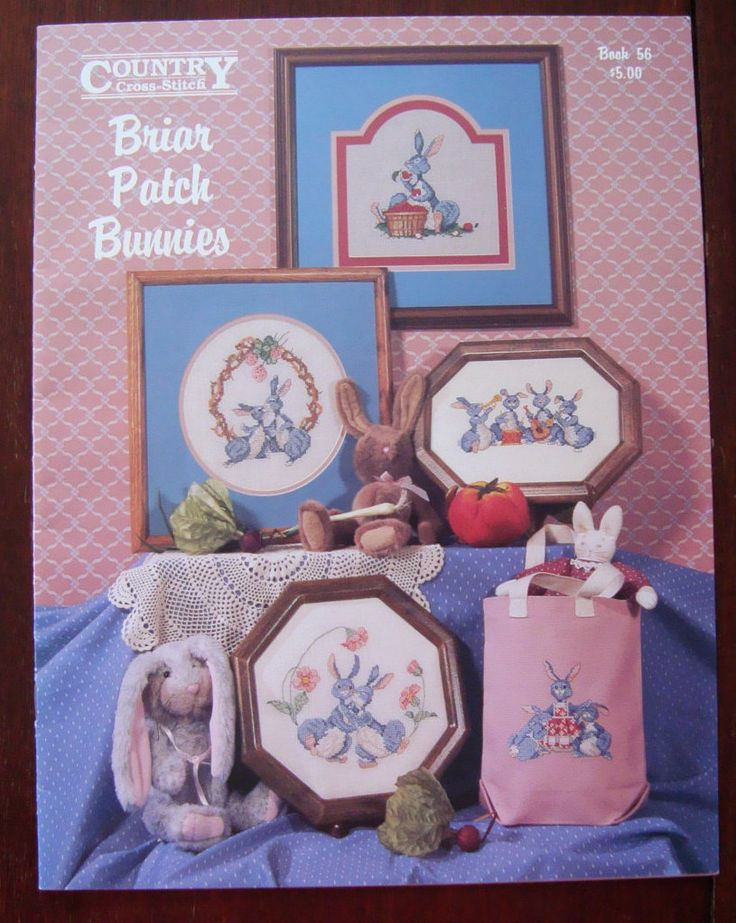 Counted Cross Stitch Briar Patch Bunnies Pattern/ Country Cross-Stitch Book 56, Briar Patch Bunnies Pictures/ Baby's room/ Child's Room by RedWickerBasket on Etsy