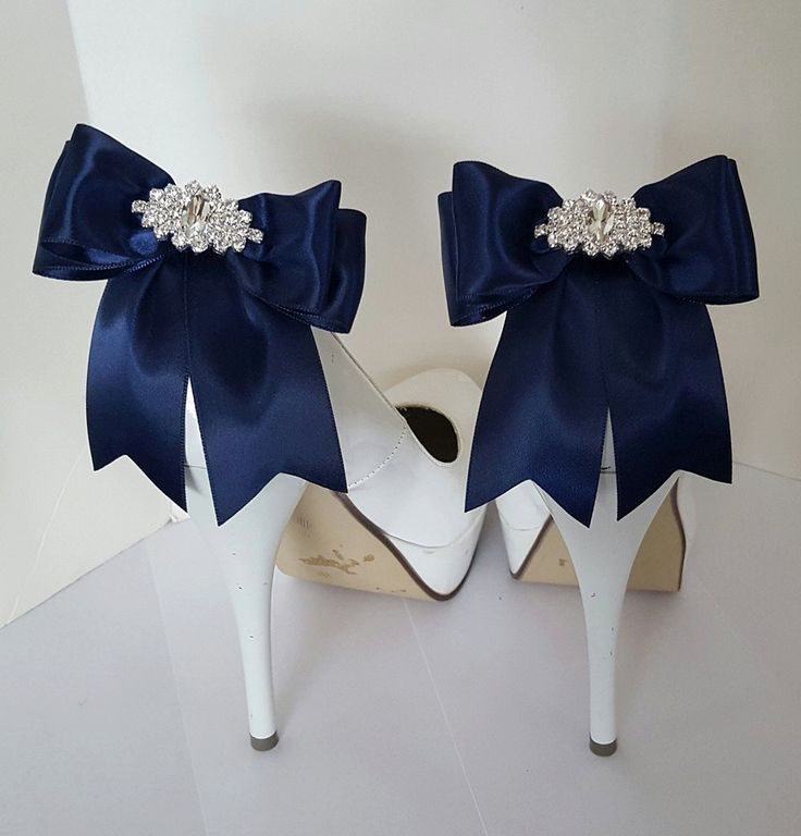 Navy Blue Wedding Shoe Clips,Bridal Shoe Clips,  MANY COLORS, Satin Bow Shoe Clips, Rhinestone Clips, Clips for Wedding Shoes, Bridal Shoes by ShoeClipsOnly on Etsy