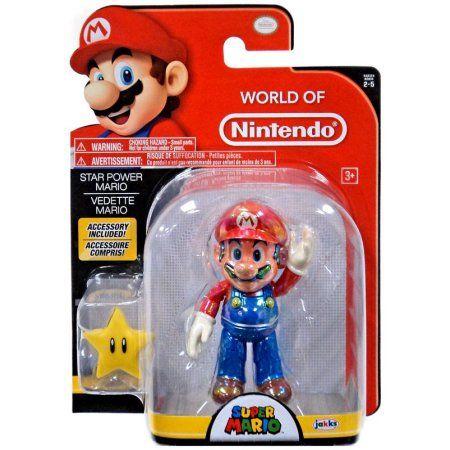 World of Nintendo Classic Mario with Super Star Action Figure, Multicolor
