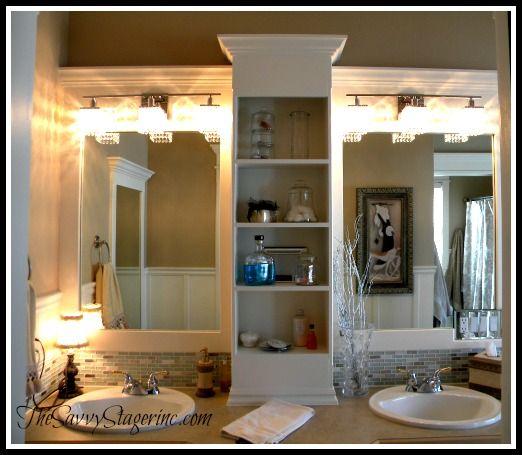 Frame and Add a Shelf to a Builder Grade Mirror!