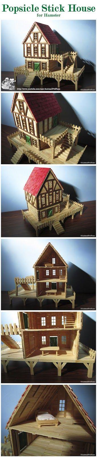DIY Popsicle stick house for hamster - casinha de palitos para hamster by AnimalPetFans - Hamster DIY