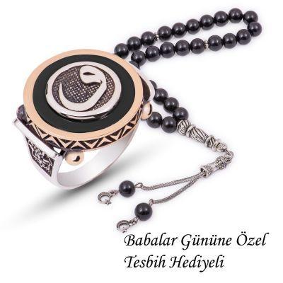 Gümüş Siyah Abanoz Vav Yüzük ve Tesbih Kombini Kombin Set
