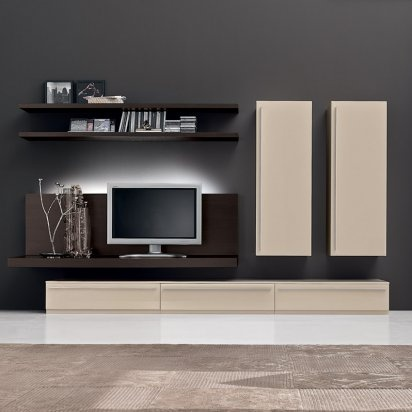 The essence of good storage is one which does not impose on its surroundings, but enhances and improves the aesthetics of that room. The Nero media wall storage system accomplishes this by providing plentiful storage whilst creating a living room that tastefully expresses the glamour of modern design. Made in Italy.    There is plenty of space to house your TV and AV/hi-fi equipment, DVDs and decorative items. It is available in completely matt lacquer or with high gloss door fronts and top…