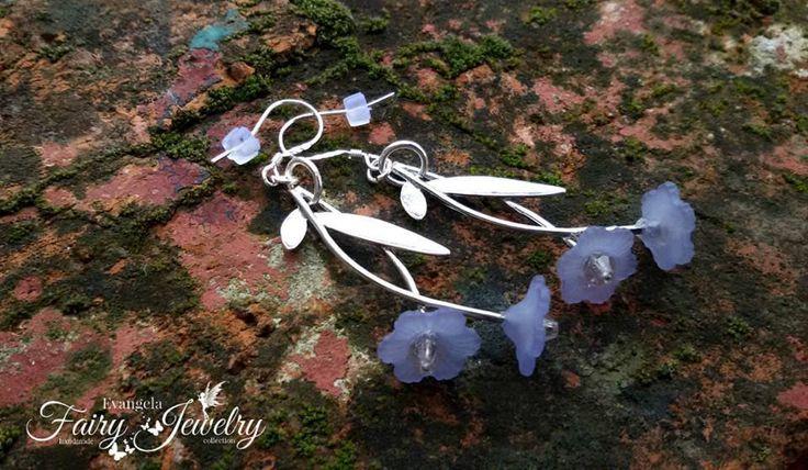 Orecchini ramo fiore lilla lucite monachelle argento 925 mezzi cristalli , by Evangela Fairy Jewelry, 8,00 € su misshobby.com
