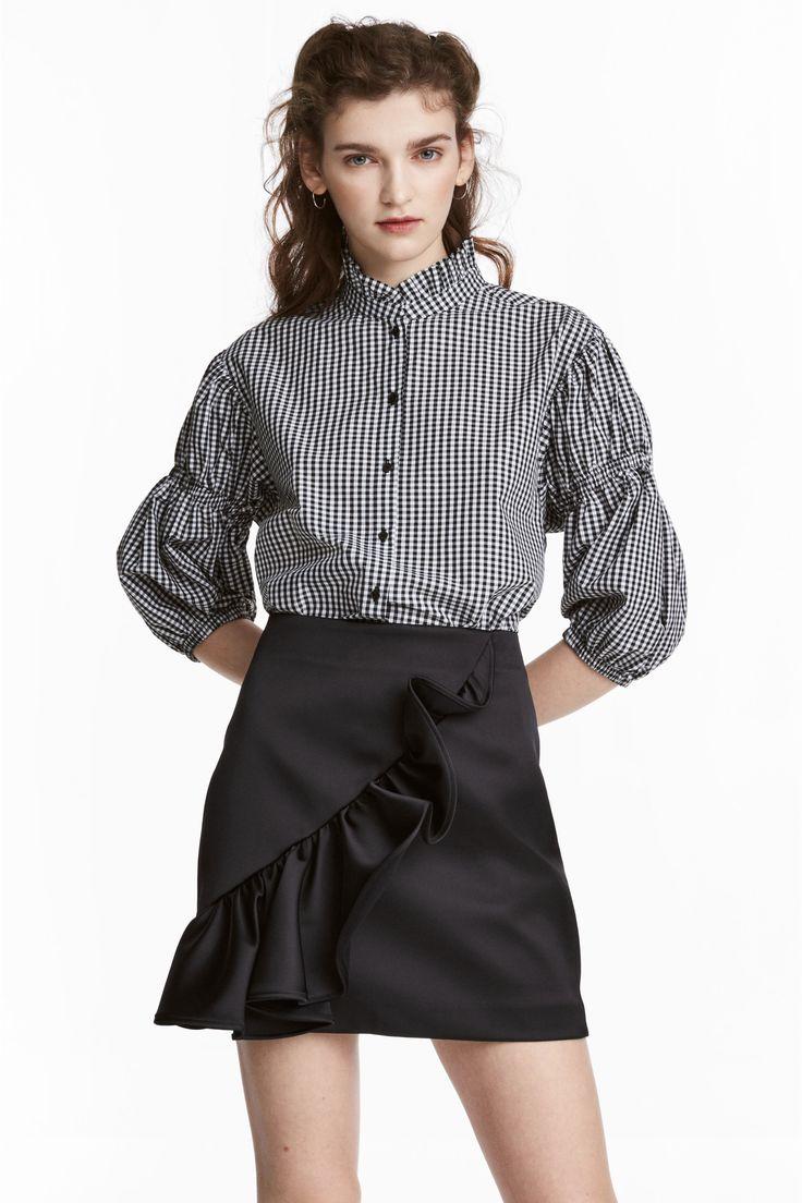 Falda de satén con volantes - Negro - MUJER | H&M ES 1