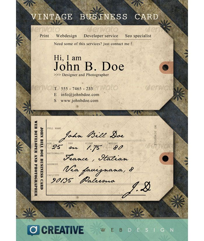 Vintage ticket/tag business card