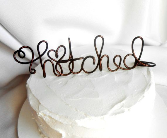 Rustic Wedding Decorations, Hitched Cake Topper, Country Weddings, 6 inch