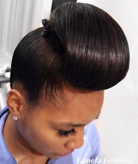 Sleek Updo For Silk Pressed Natural Hair