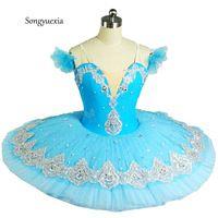 2017 Songyuexia niños y Adultos profesional azul ropa soplo de la falda de ballet infantil de danza traje de ballet falda del tutú del niño