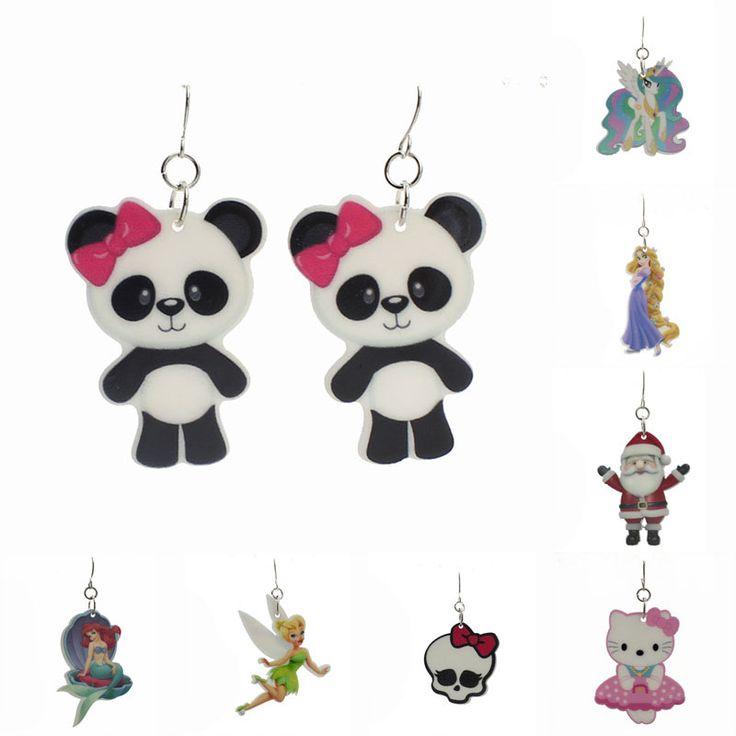 Fashion Kawaii Shopping Animal Resin Drop Earrings For Little Girls Cartoon Planar Resin Children's Jewelry Earrings 19 Styles