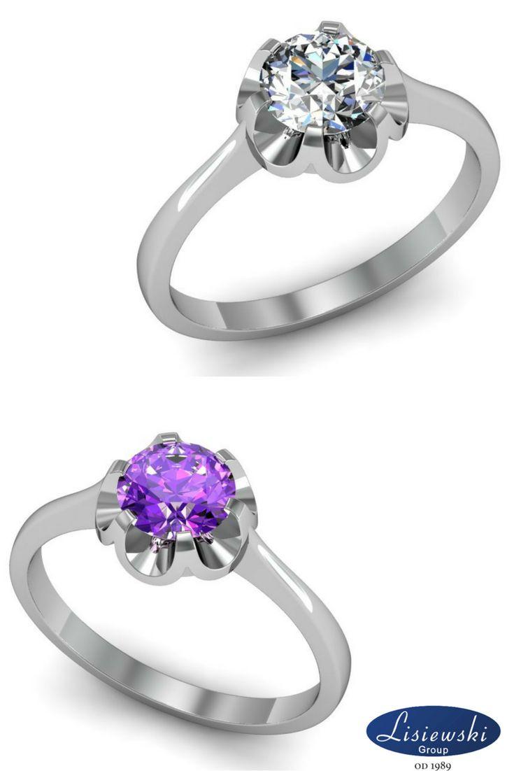 Złoty pierścionek zaręczynowy z diamentem lub ametystem. Białe złoto, śliczne kamienie ~0.63ct || Golden engagement ring with diamond or amethyst. Beautiful white gold and gems.  #engagementring #amethyst